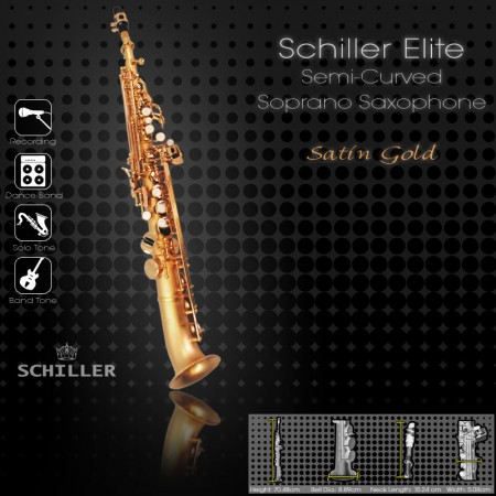 Elite IV Semi-Curved Soprano Saxophone – Satin Gold