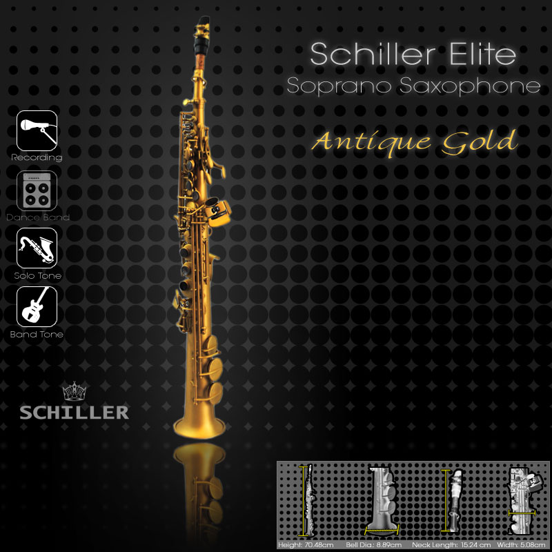 Elite Luxus Soprano Saxophone V – Antique Gold