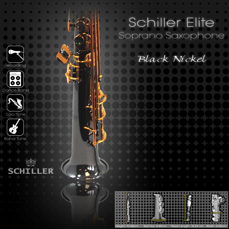 Elite Luxus V Soprano Saxophone – Black Nickle Plated w/ Gold