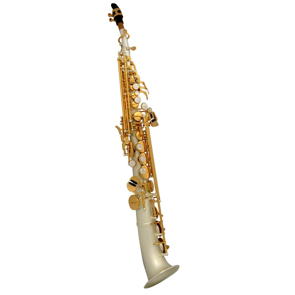 Elite V La Première Soprano Semi-Curved Saxophone – Silver Satin w/ Gold Keys