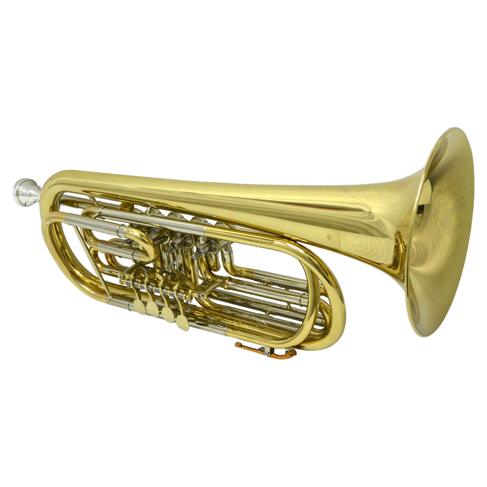 Elite Frankfurt Rotary Bass C Trumpet – Gold Lacquer