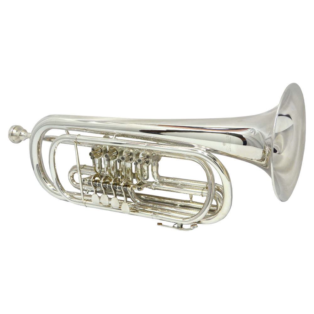 Elite Frankfurt Rotary Bass C Trumpet – Silver Plated