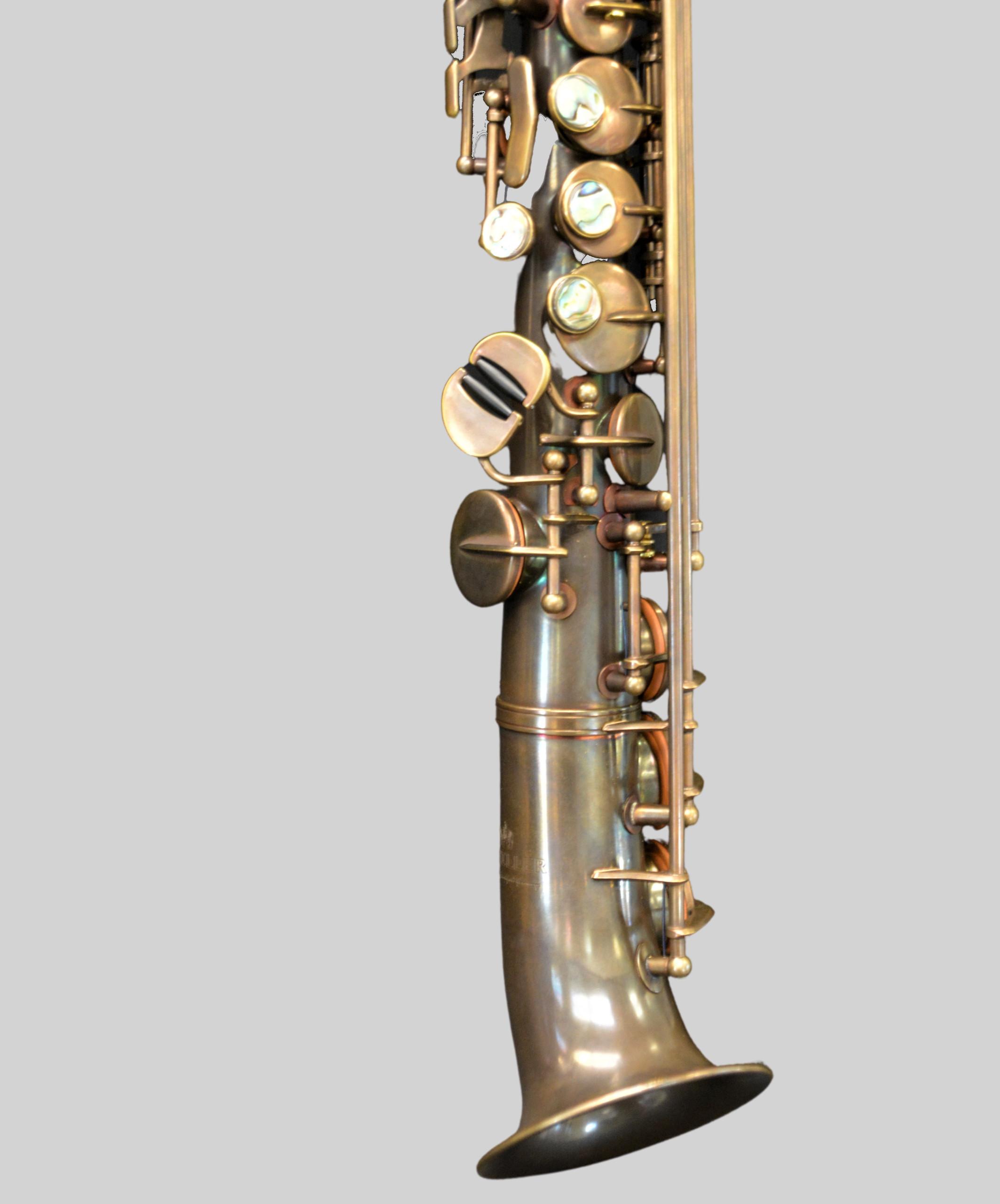 Elite V Semi Curved Soprano Saxophone Aged Brass Plate