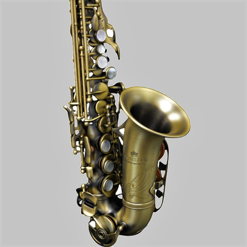 Elite V Curved Soprano Saxophone Luxus Antique Brass Plated