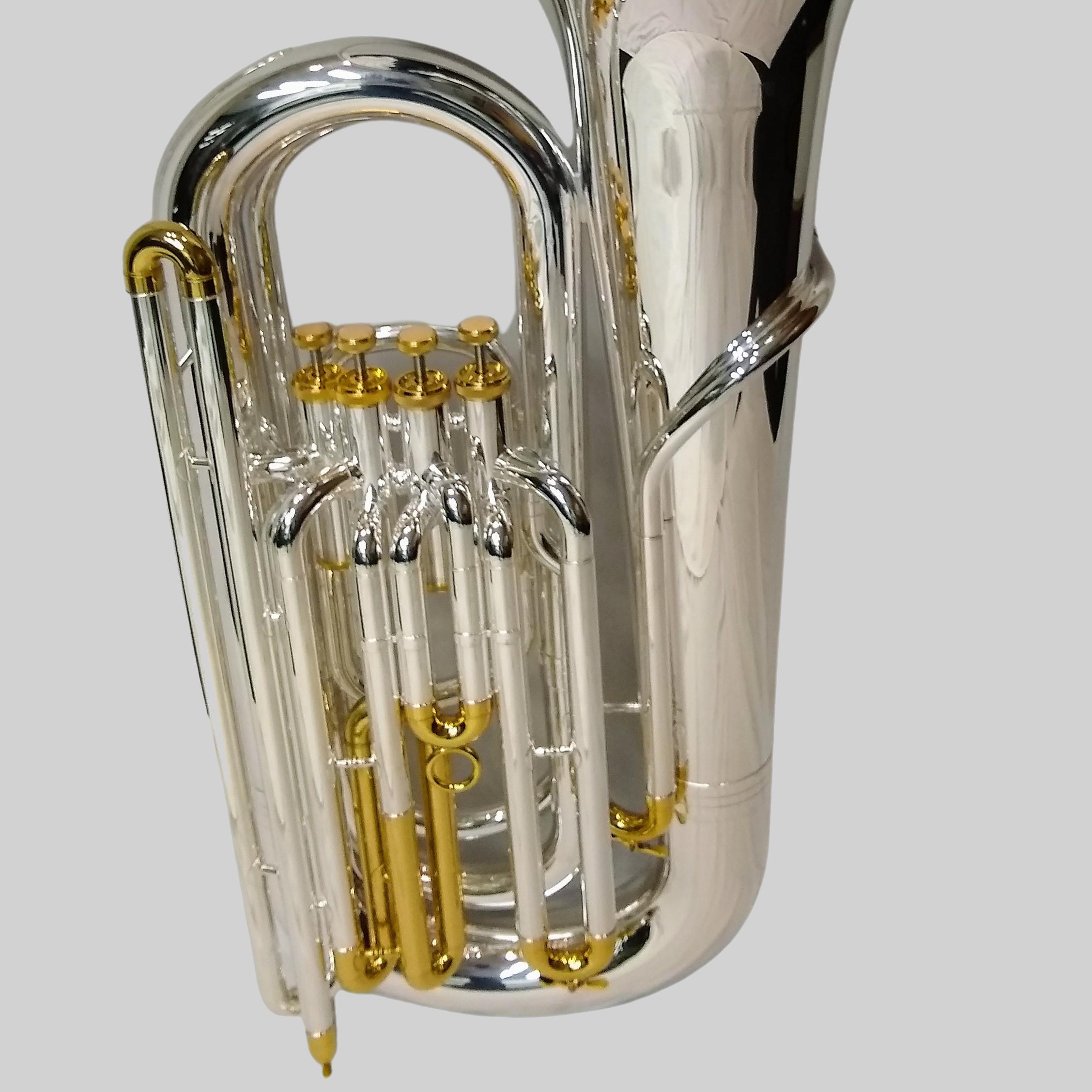 American Heritage 4 Valve Piston Inline BBb Tuba – Silver/Gold