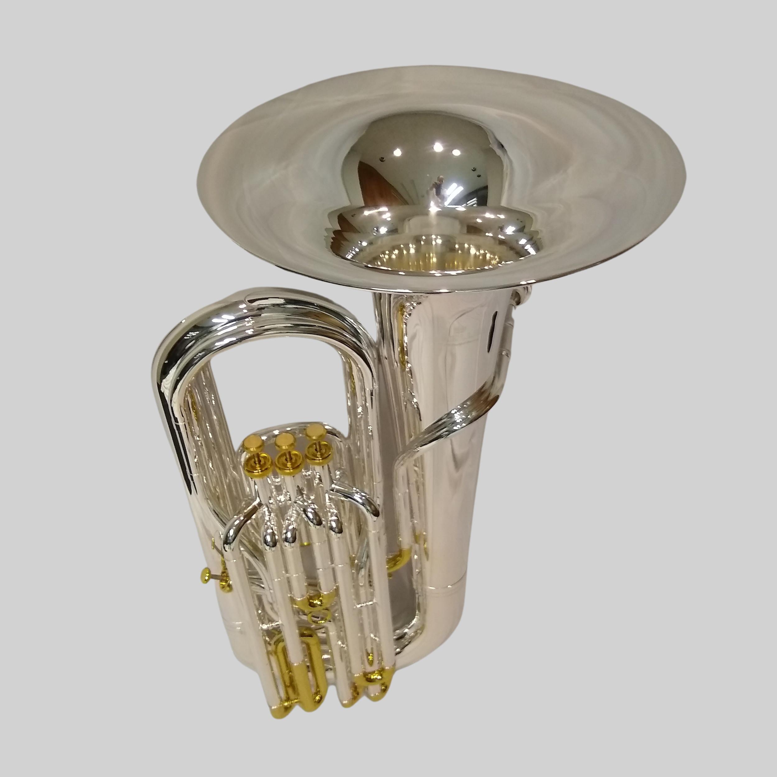 American Heritage 4 Valve Piston Sidekick CC Tuba – Silver/Gold